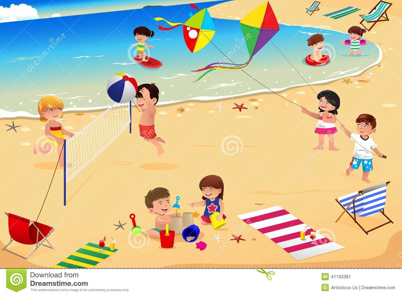 vector illustration of happy kids having fun on the beach Kids Playing On The Beach Clipart
