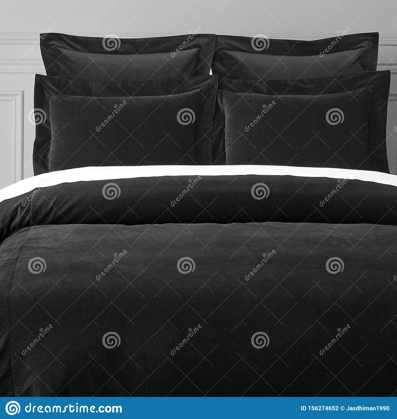 Black Bed Sheets And Pillows Stock Photo Image Of Dark Bedding 156274652