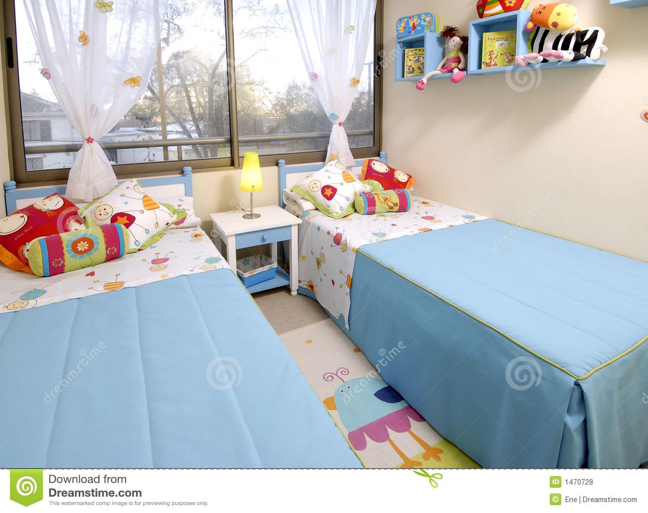 Kids bedroom stock photo image of sleep bedroom blue 1470728 - Kids bed room pic ...