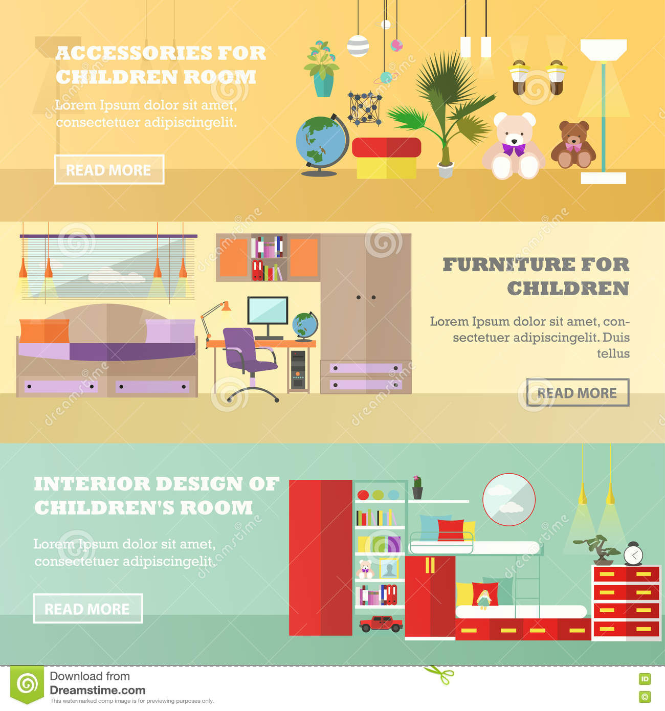 Kids bedroom interior banners in flat style vector for Room design vector