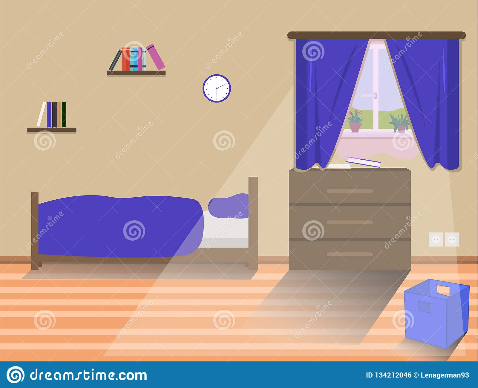 Kids Bedroom Interior With Bed Stock Illustration - Illustration of ...