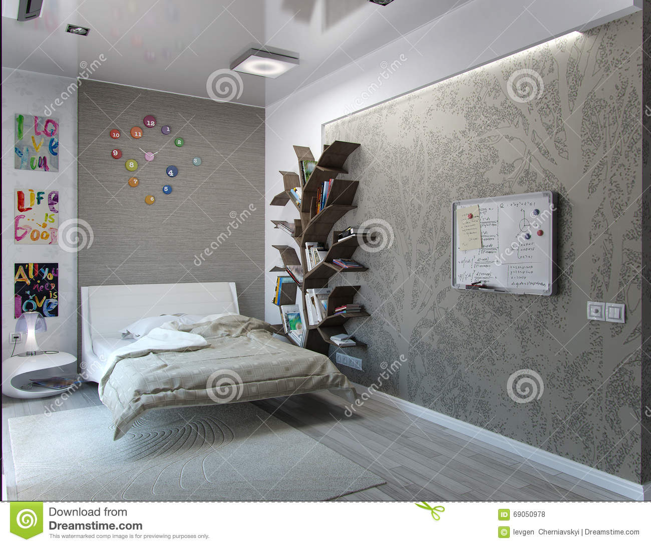 Bedroom Rendering Bedroom Ceiling Uplighters Childrens Bedroom Wallpaper Bedroom Black White: Visualization Of The Interior. 3D Rendering Royalty-Free Stock Photography