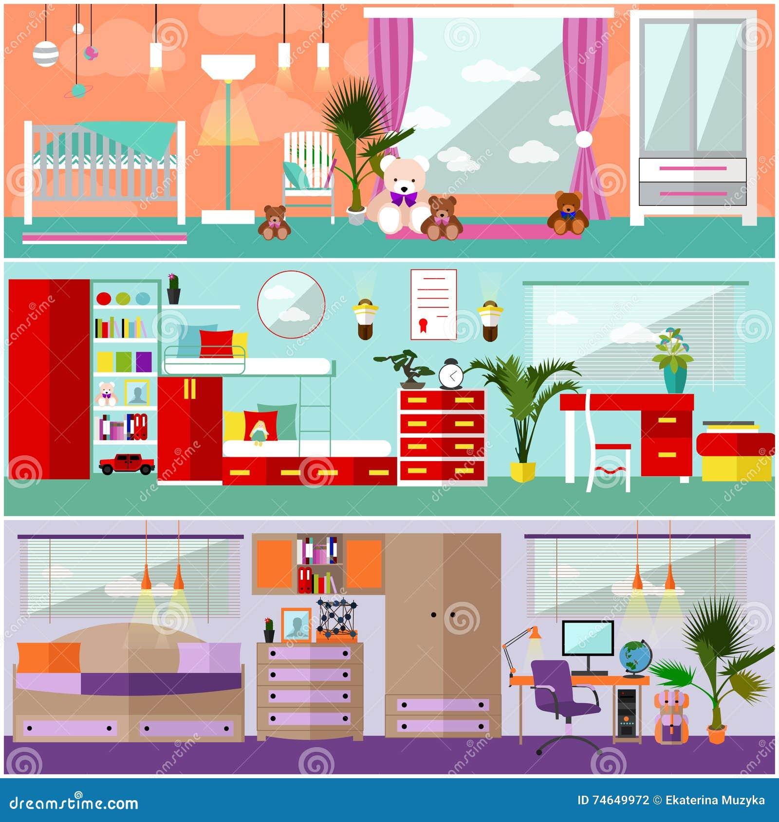 Kids bedroom interior in flat style vector illustration for Room design elements