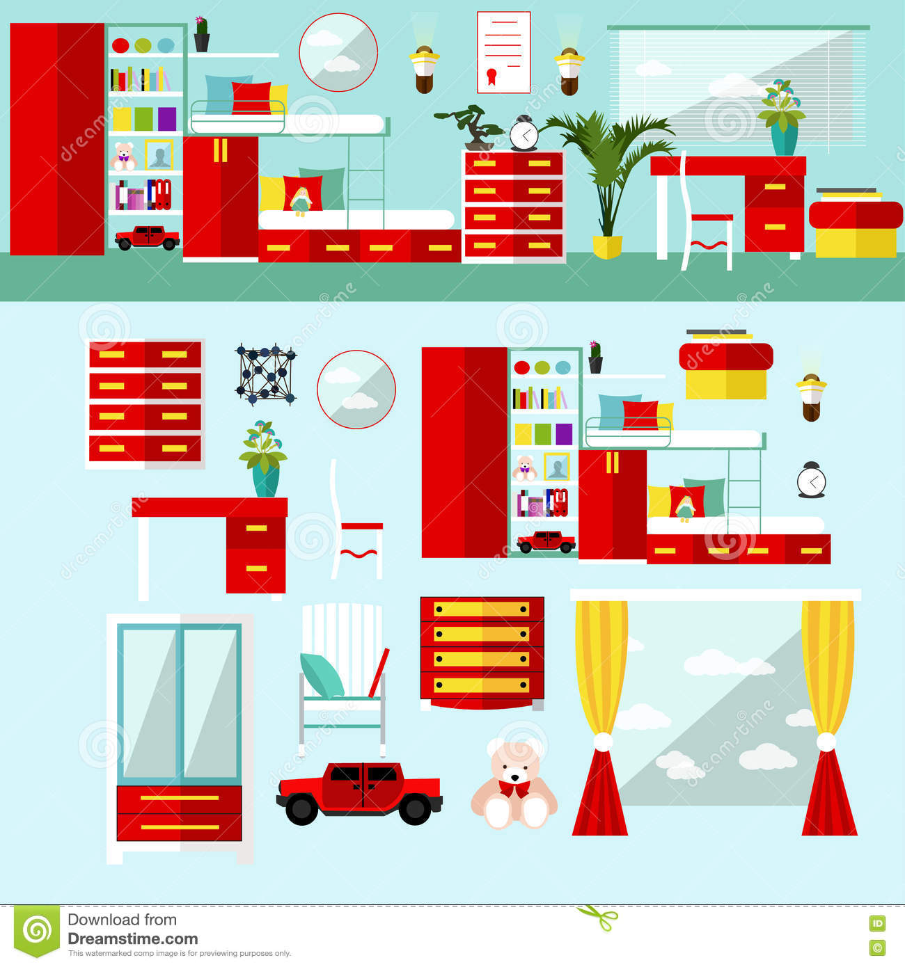 Kids bedroom interior in flat style vector illustration for Room design vector