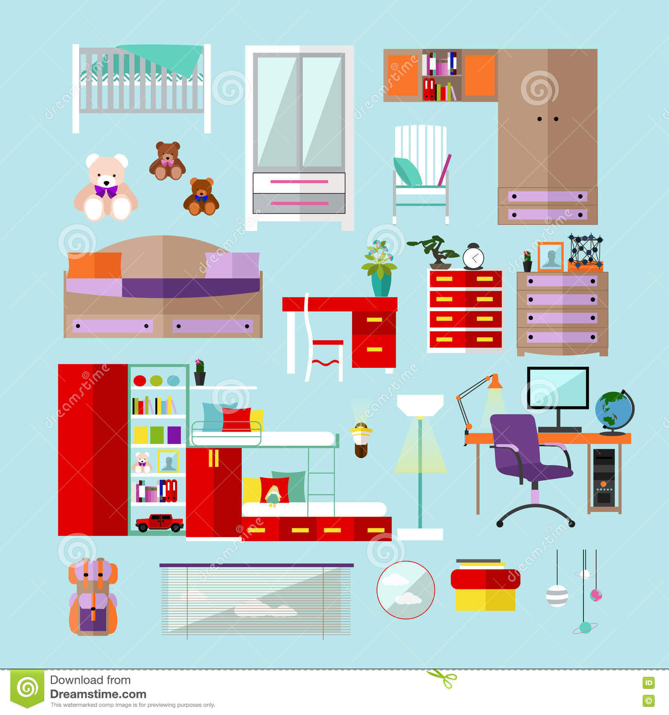 Kids bedroom interior objects in flat style vector for Room design vector