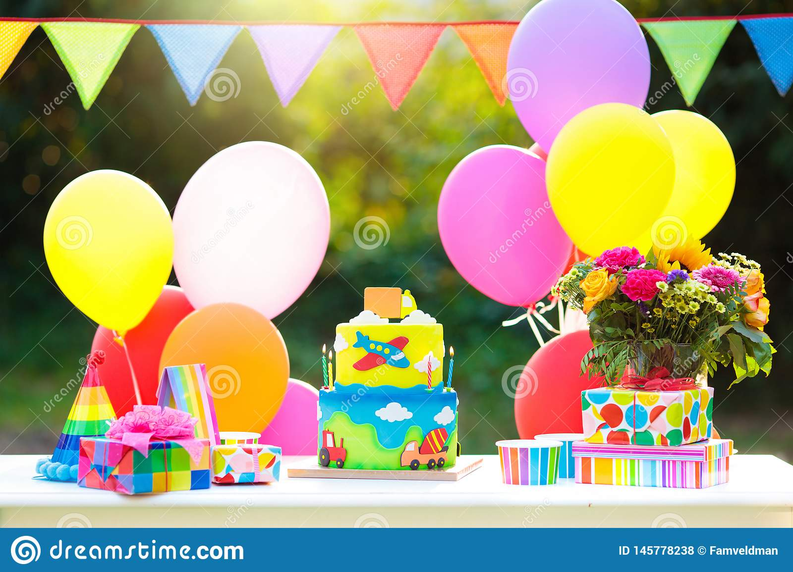 Brilliant Kids Birthday Cake With Cars Party Decoration Stock Photo Image Funny Birthday Cards Online Eattedamsfinfo