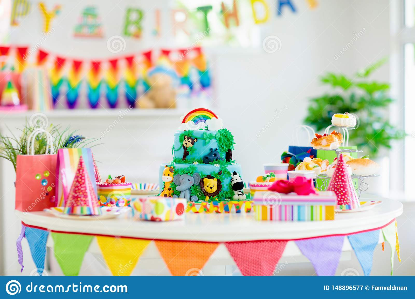 Magnificent Kids Birthday Cake Child Jungle Theme Party Stock Image Image Personalised Birthday Cards Paralily Jamesorg