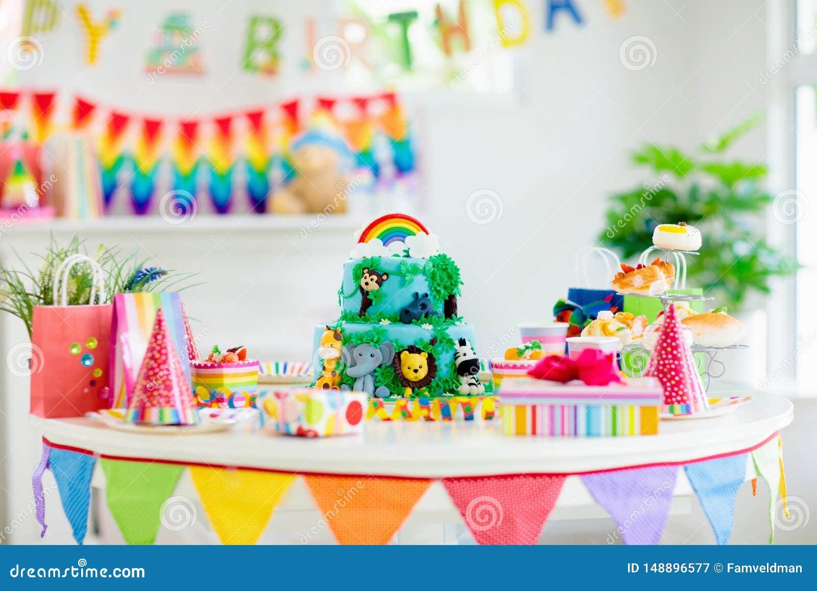 Strange Kids Birthday Cake Child Jungle Theme Party Stock Image Image Birthday Cards Printable Trancafe Filternl