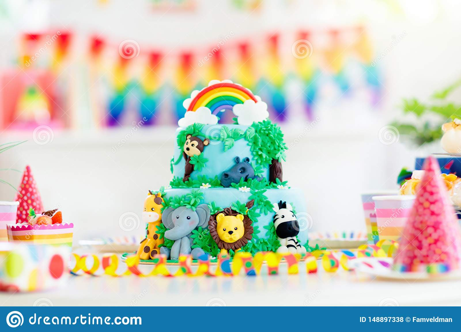 Excellent Kids Birthday Cake Child Jungle Theme Party Stock Photo Image Funny Birthday Cards Online Alyptdamsfinfo