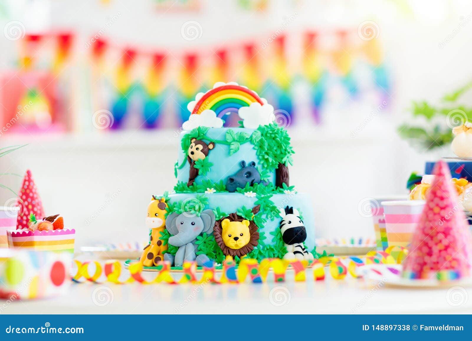 Superb Kids Birthday Cake Child Jungle Theme Party Stock Photo Image Birthday Cards Printable Trancafe Filternl