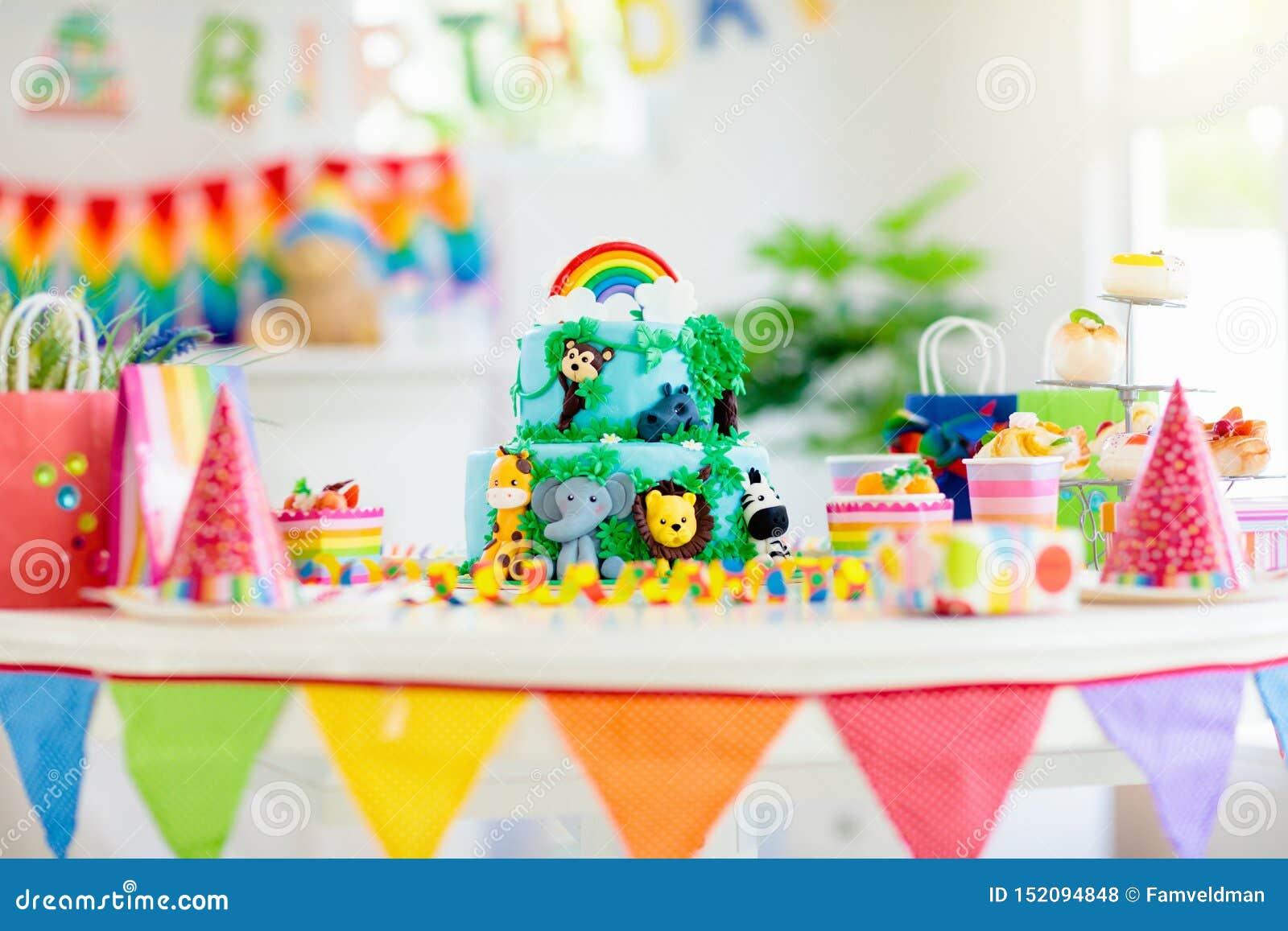Fabulous Kids Birthday Cake Child Jungle Theme Party Stock Photo Image Personalised Birthday Cards Sponlily Jamesorg