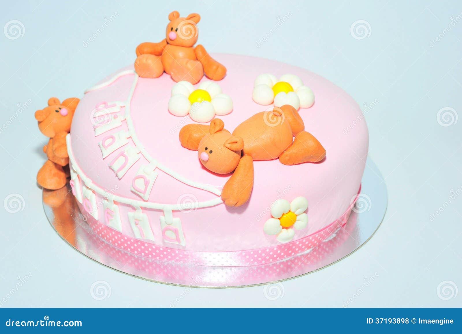 Kids Birthday Cake With Fondant Teddy Bears Stock Photo Image Of