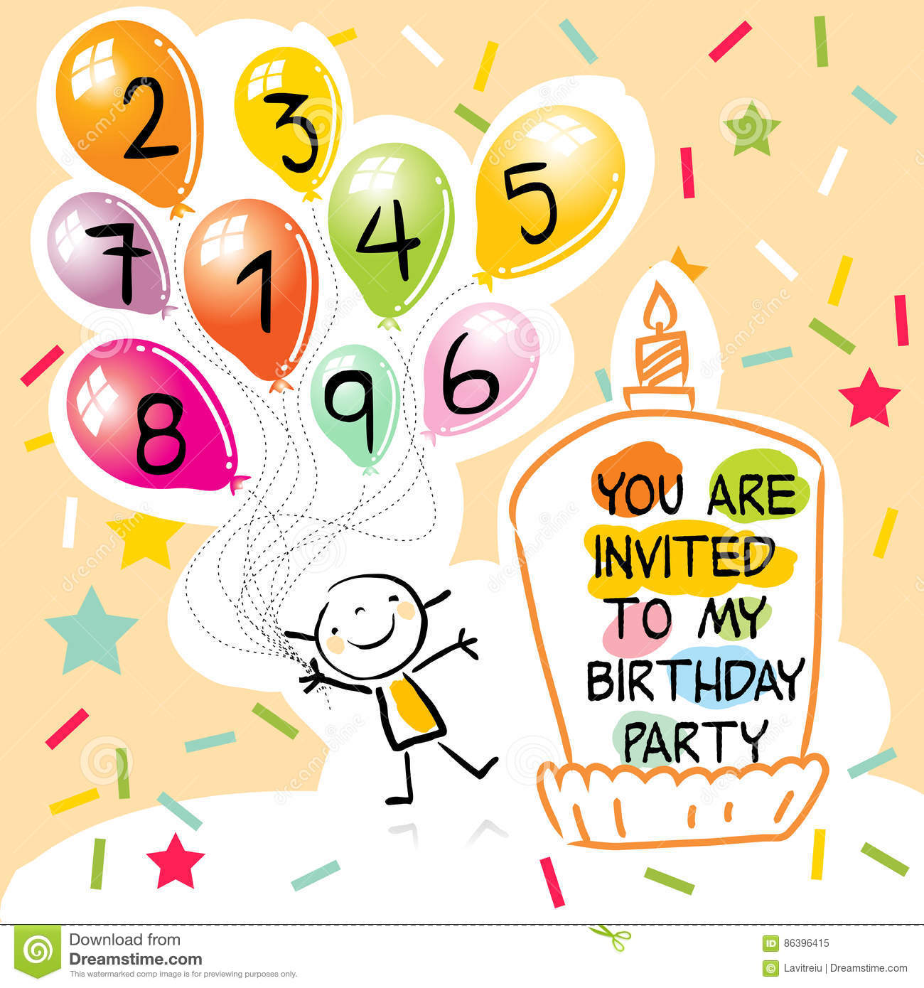 Happy Birthday Kids Greeting Card Party Invitation Colorful Ballons With Doodle Line Art Drawing