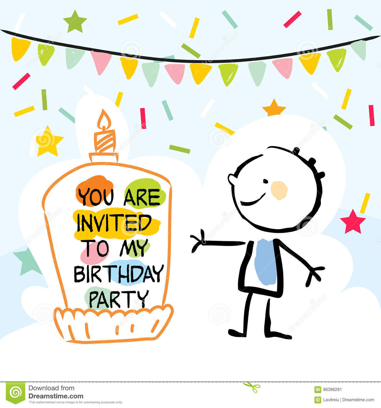 Happy Birthday Kids Greeting Card Party Invitation Colorful Confetti With Doodle Line Art Drawing