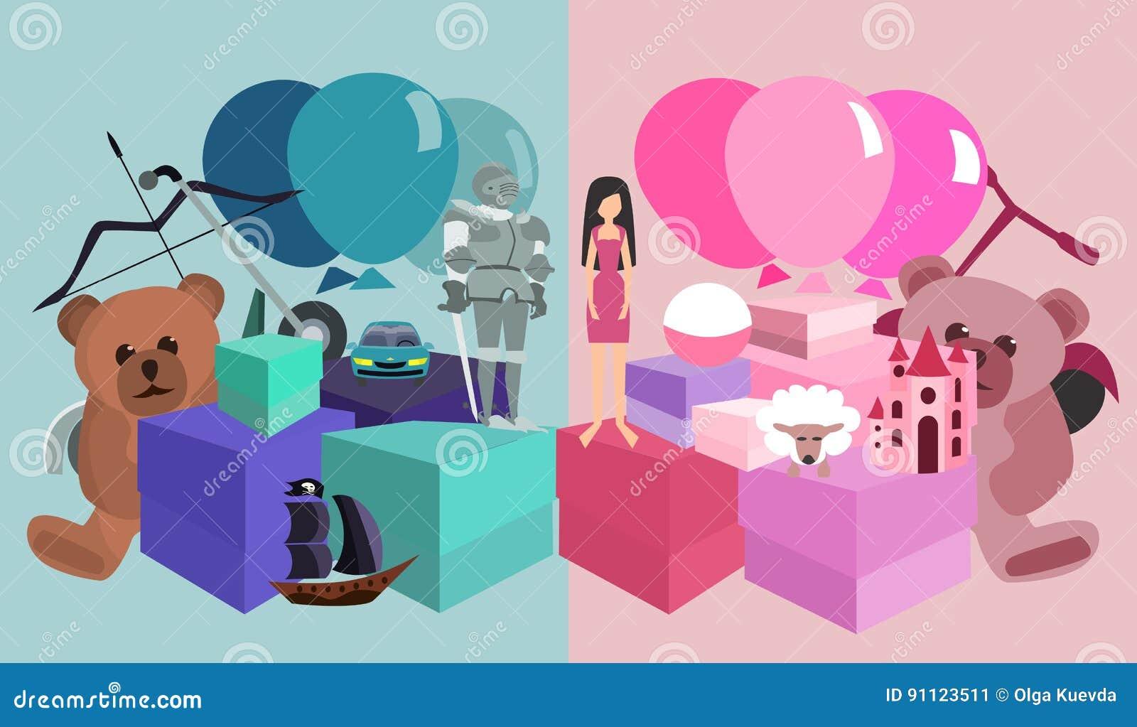 Kids birthday gifts pile girls vs boys & Kids Birthday Gifts Pile Girls Vs Boys Stock Vector - Illustration ...