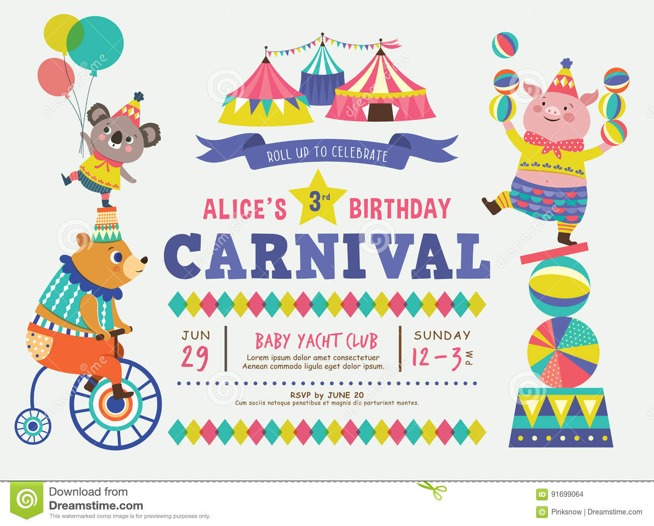 Kids birthday invitation card stock vector illustration of download kids birthday invitation card stock vector illustration of colorful tent 91699064 filmwisefo
