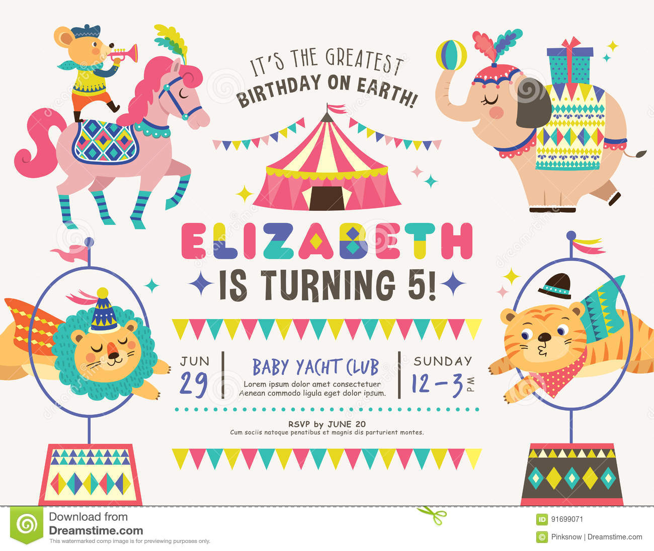 Kids Birthday Invitation Card Stock Vector - Illustration of gift ...