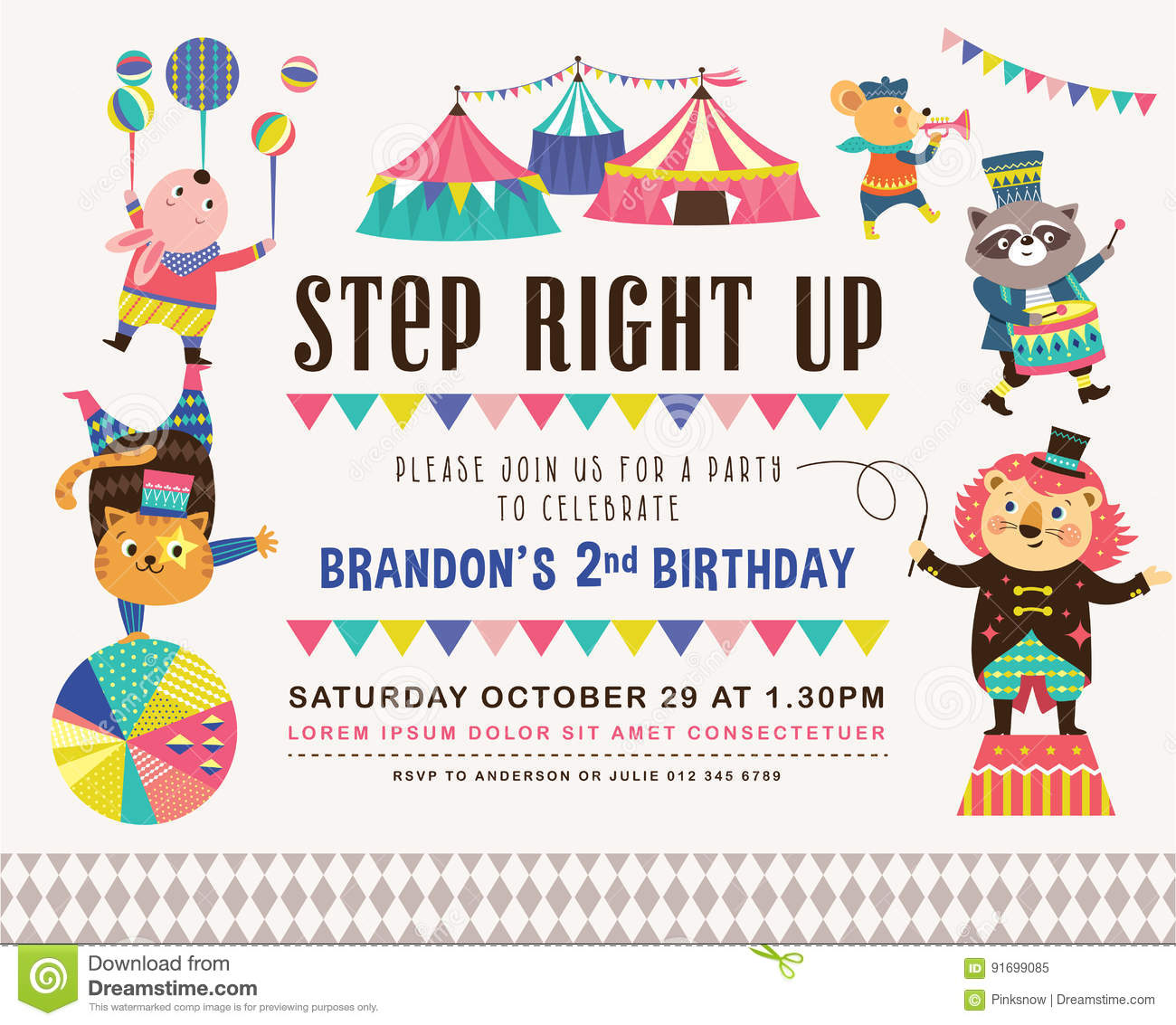 Kids Birthday Invitation Card Stock Vector - Illustration of ...