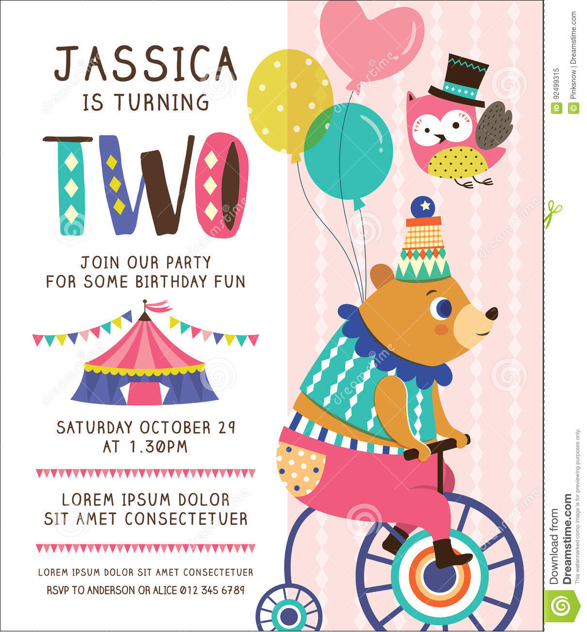 Kids Birthday Invitation Card Stock Vector - Illustration of design,  bicycle: 92499315
