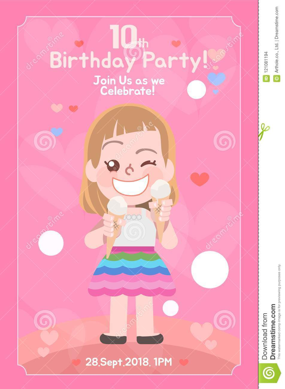 Kids Birthday Invitation Card Template Stock Illustration