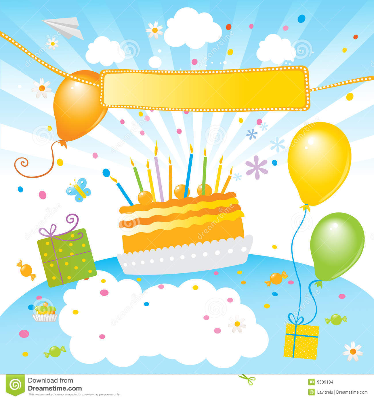 Kids party vector illustration. Birthday cake, balloons and banner ...