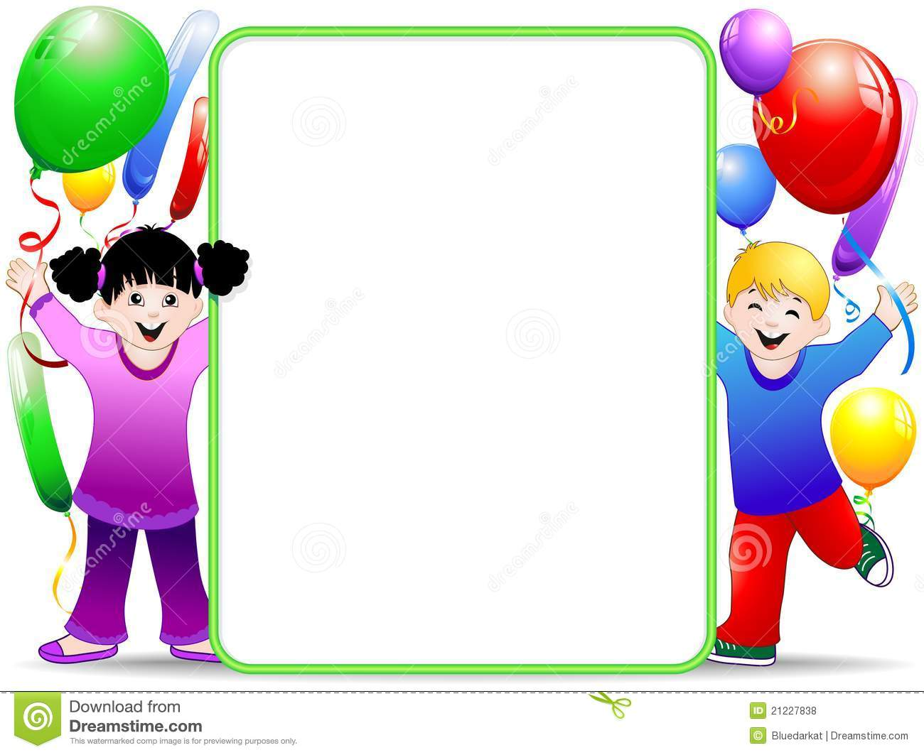 Kids Birthday Party Background With Balloons