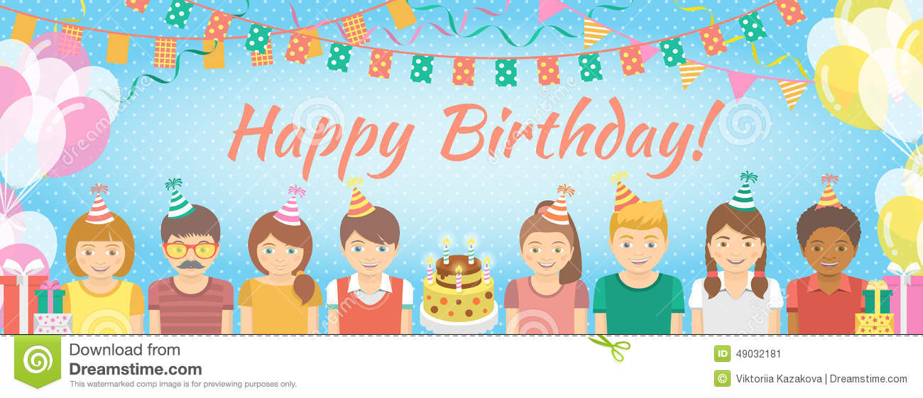 kids birthday party background stock vector illustration of