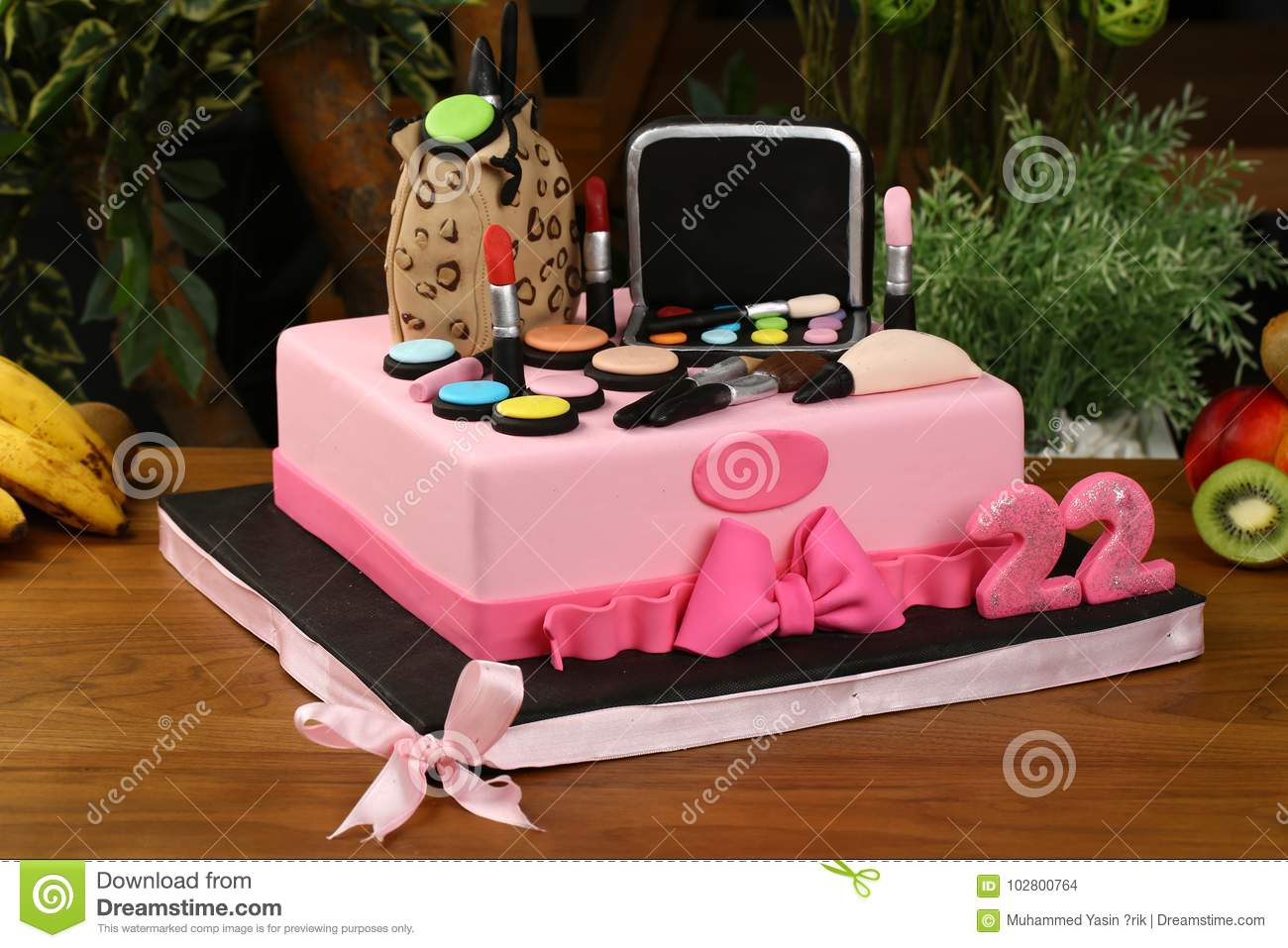 Kids Birthday Party Cake Cosmetics And Make Up Material Consept