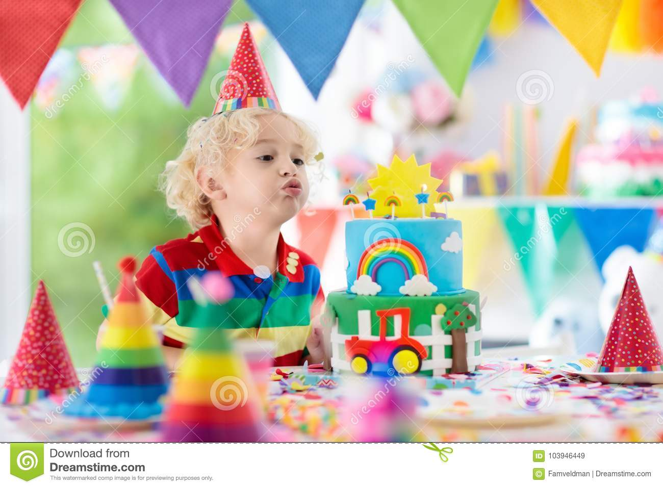 Kids Birthday Party Child Blowing Out Cake Candle Stock Image Image Of Candy Holiday 103946449