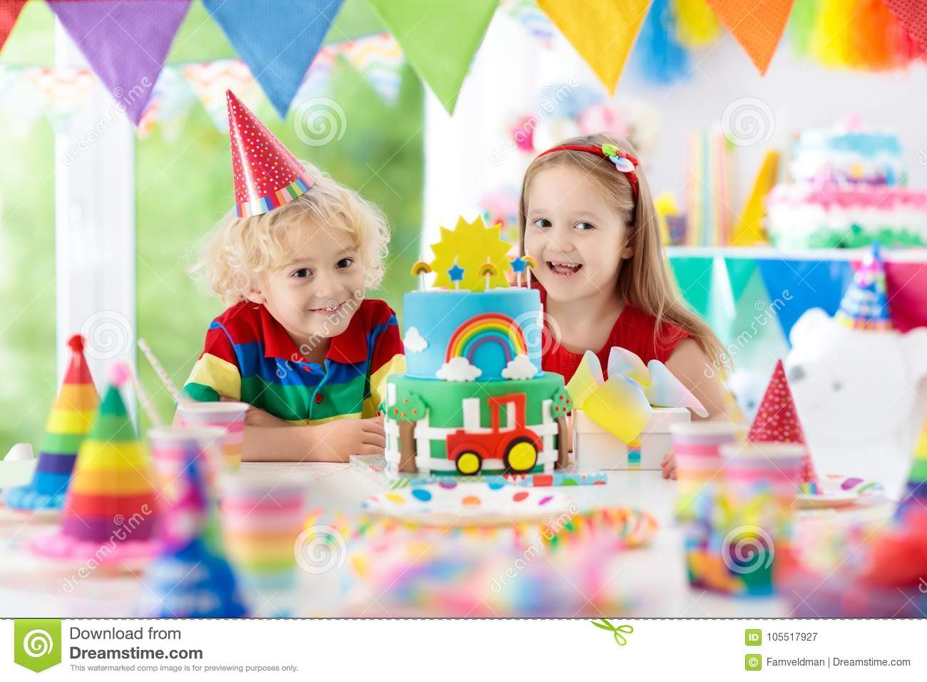Kids Party Birthday Cake With Candles For Child