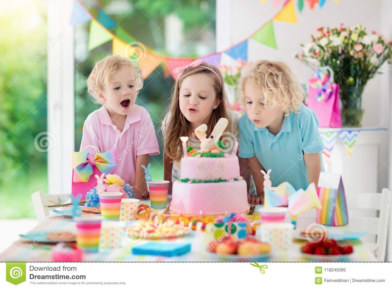 Kids Birthday Party Children Blow Cake Candles Stock Image Image Of Child Kids 118245095