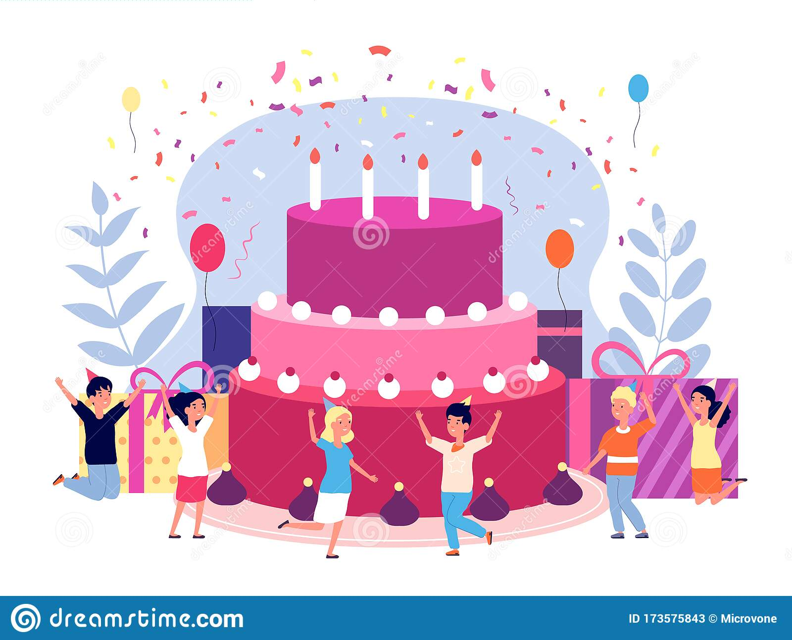 Kids Birthday Party Children Celebration Friends With Balloons And Confetti Cake Gifts And Candles Group Girls And Stock Vector Illustration Of Confetti Character 173575843