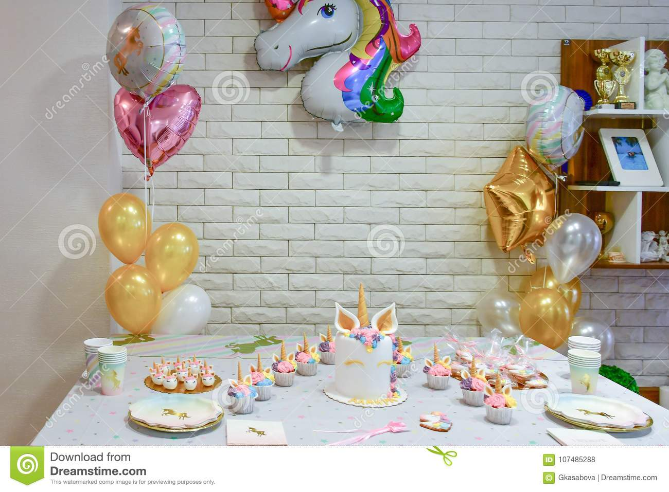 Unicorn party cupcake stock photo. Image of kids, color - 17
