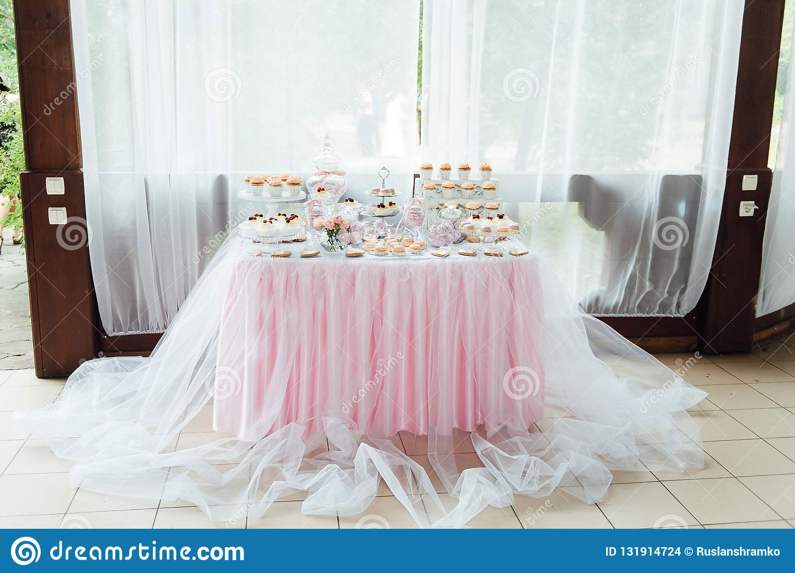 Kids birthday party decoration and cake. Decorated table