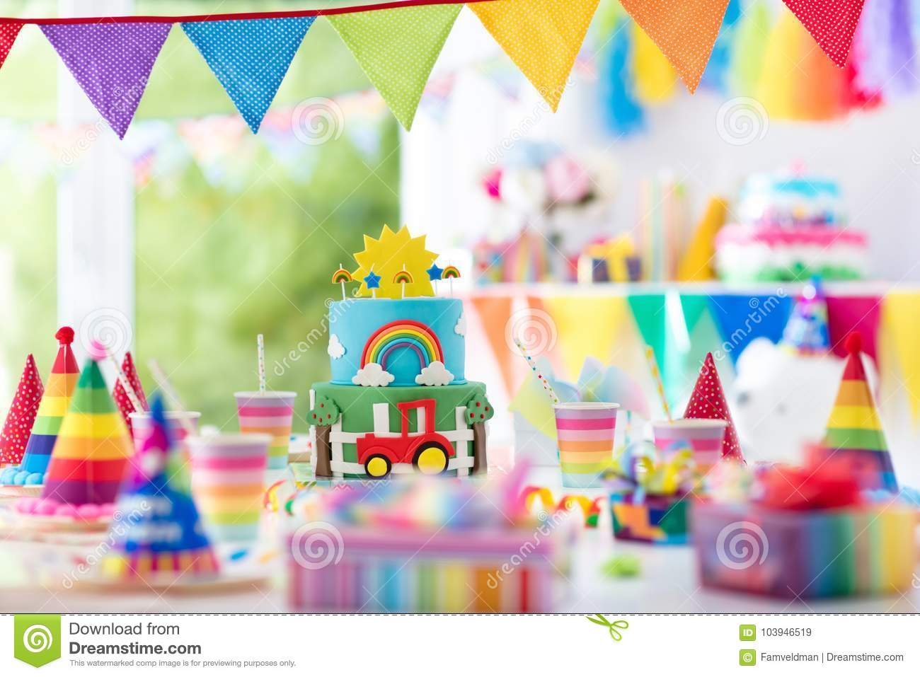 Boy Birthday Cake For Little Child Kids Party Stock Image Image
