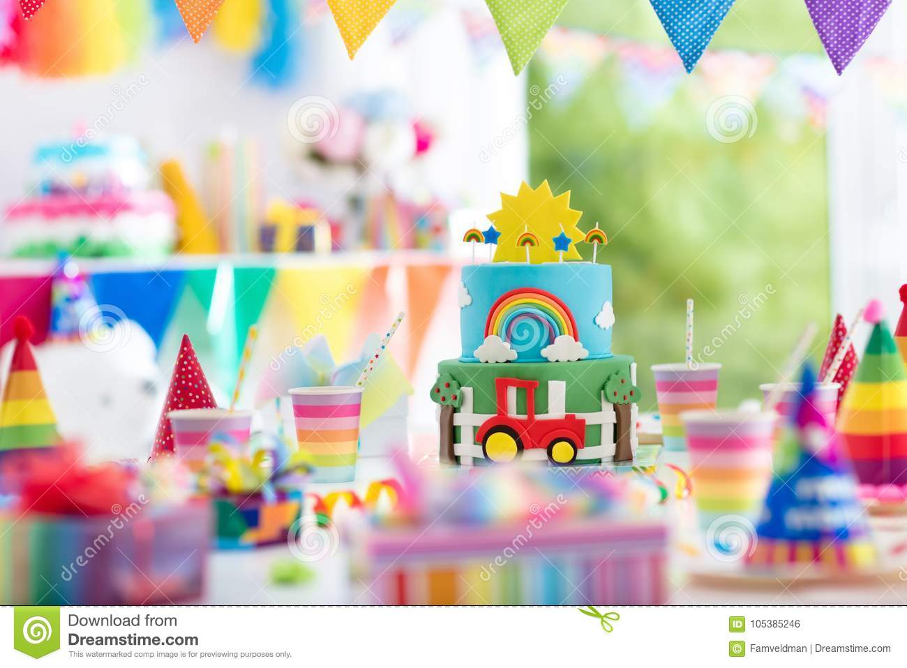 Boy Birthday  Cake For Little Child  Kids Party  Stock Photo - Image