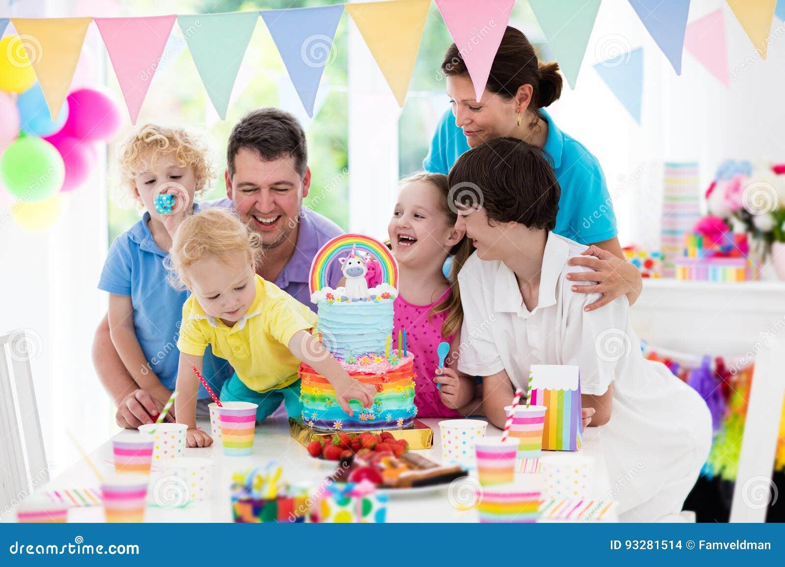 Kids Birthday Party Family Celebration With Cake Stock