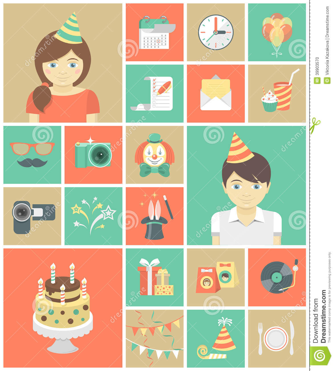 Kids Birthday Party Icons Stock Vector Image 39903570
