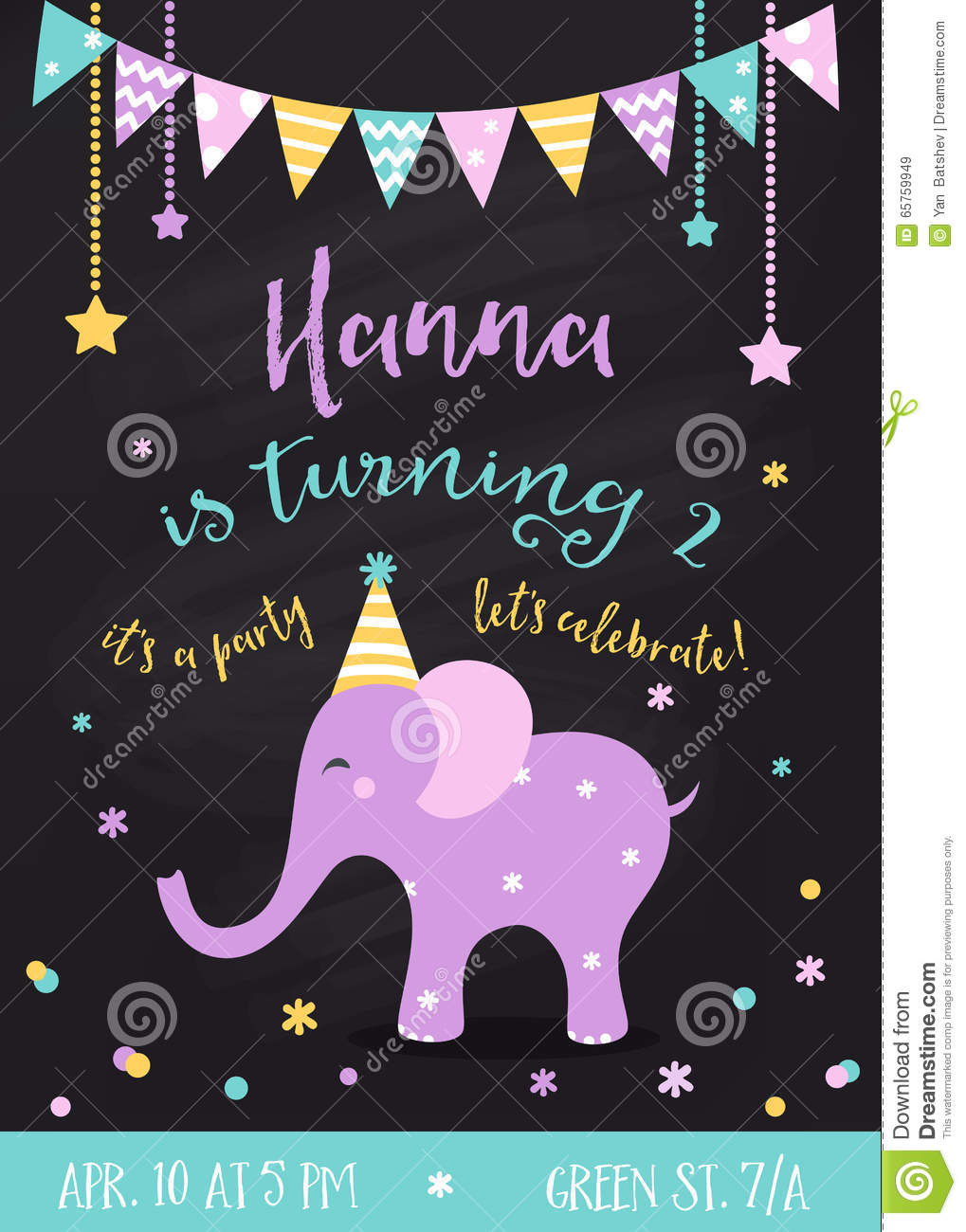 Kids Birthday Party Invitation With Garlands And Baby Elephant On Chalkboard Background