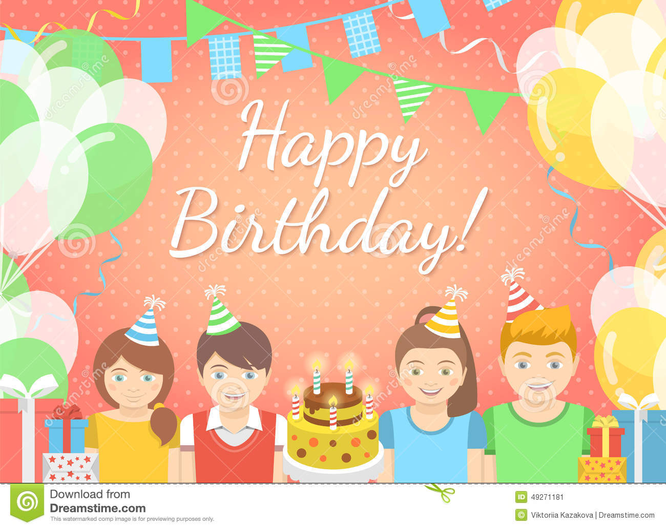 Balloons streamers birthday party celebration stock illustrations kids birthday party pink background modern flat colorful vector birthday party background with group of bookmarktalkfo Gallery