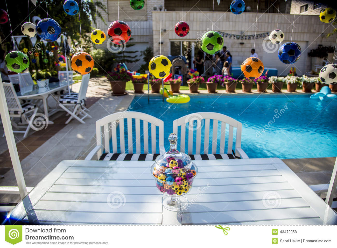 Kids Birthday Party Soccer Theme Stock Photo Image Of