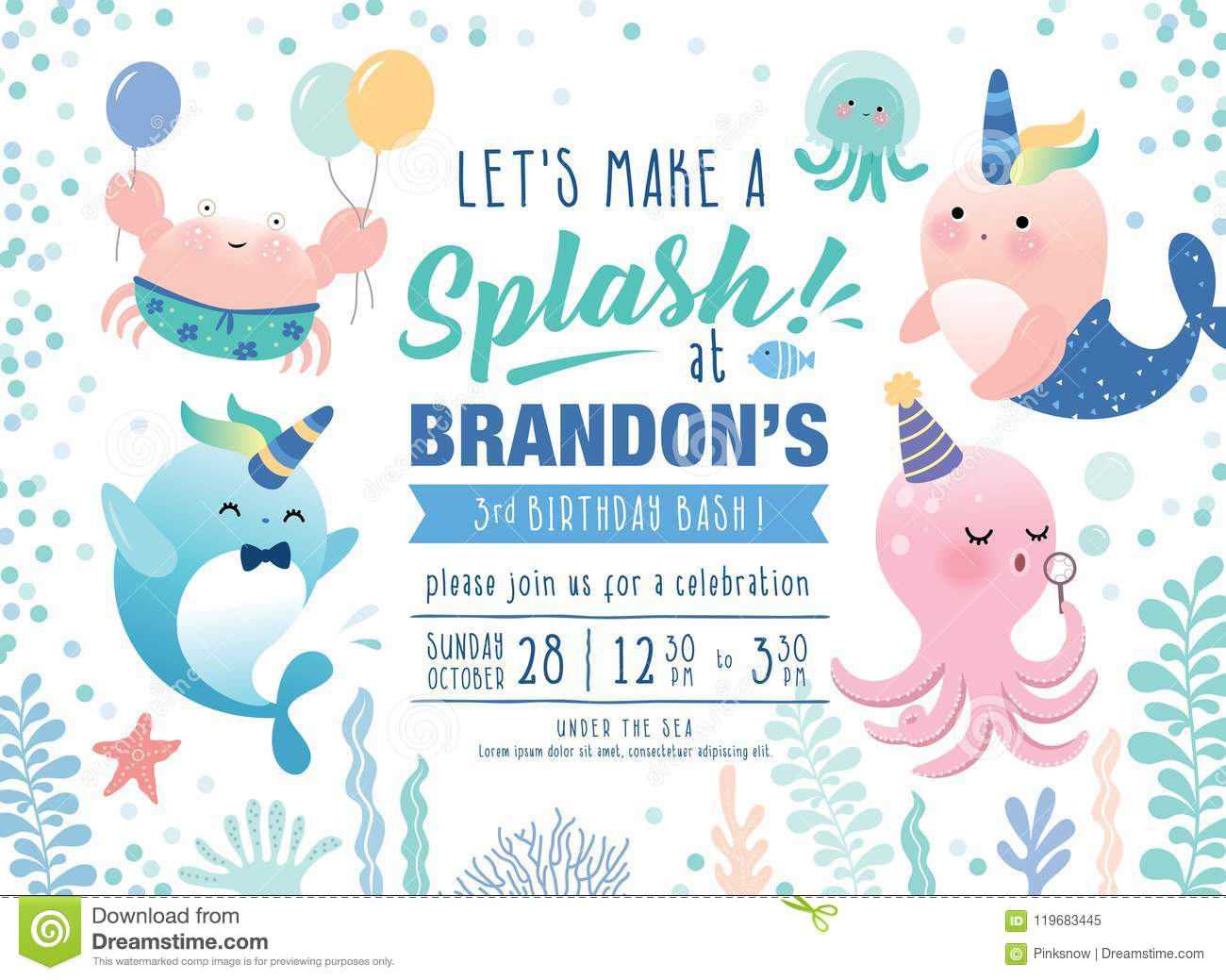Kids Birthday Party Under The Sea Theme Invitation Card With Cute Marine Life Cartoon Character