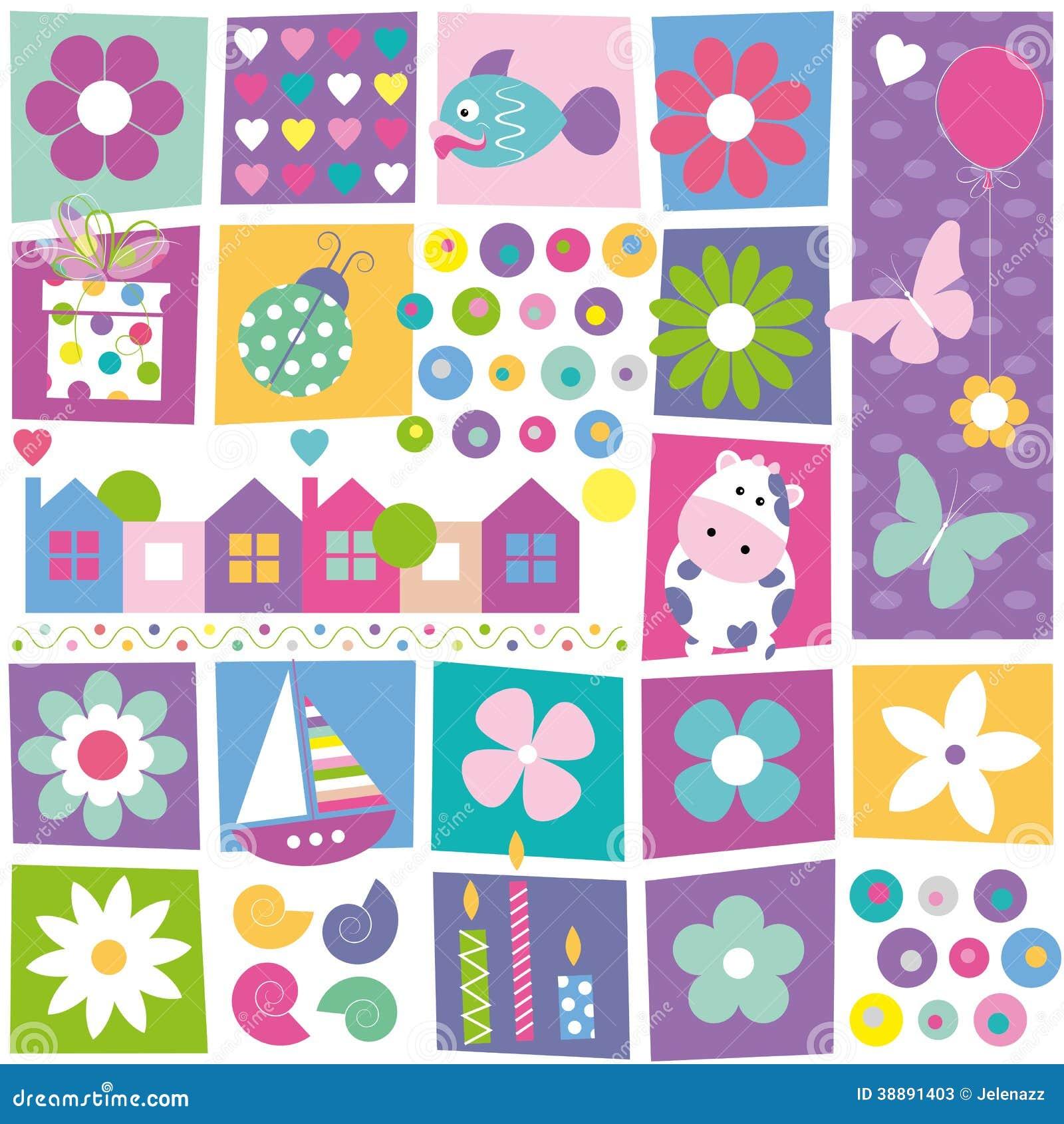 Kids Birthday Set Pattern Stock Vector Illustration Of Colorful