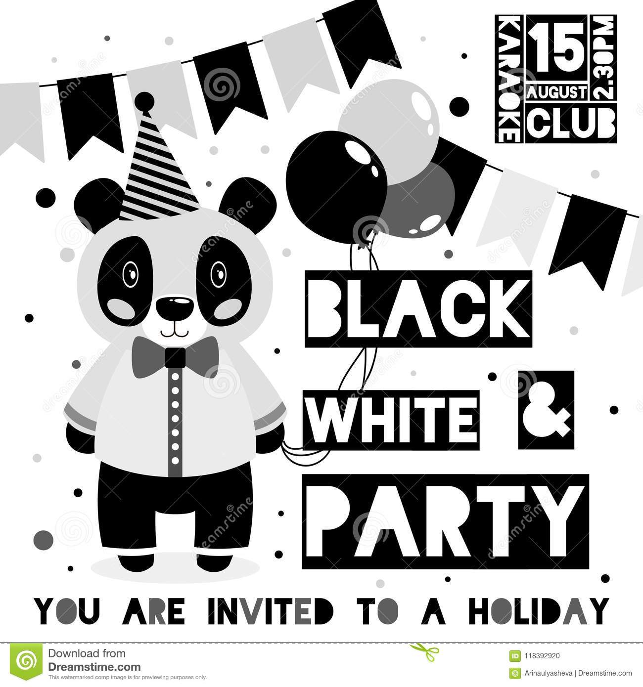 kids black and white party invitation card with animal panda theme
