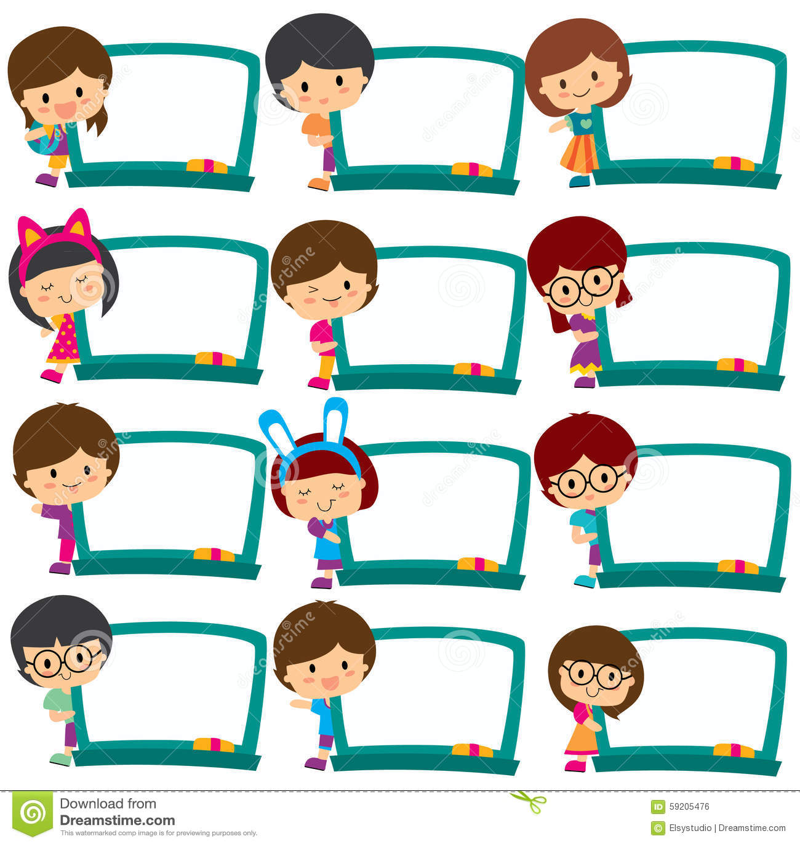 Kids Board Frames Clip Art Set Stock Vector - Illustration of human ...