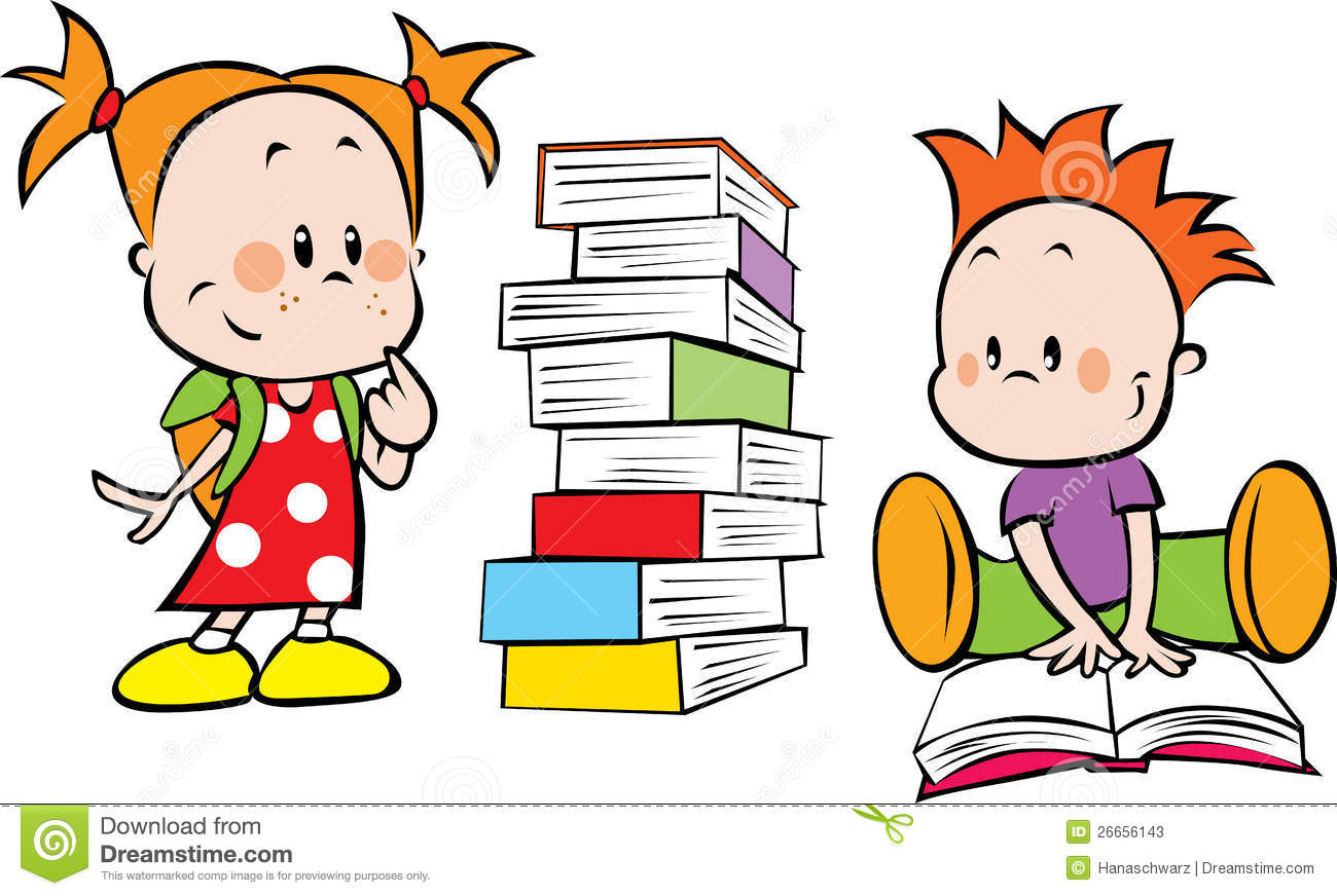 Illustration of kids and books isolated on white