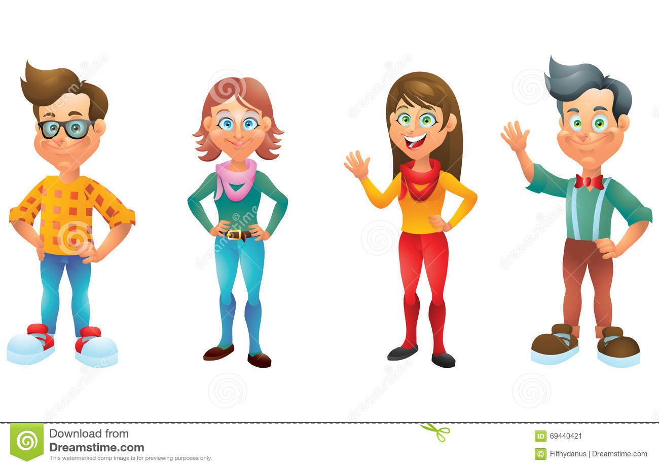 4 Girl Cartoon Characters : Kids boys and girls cartoon characters set stock