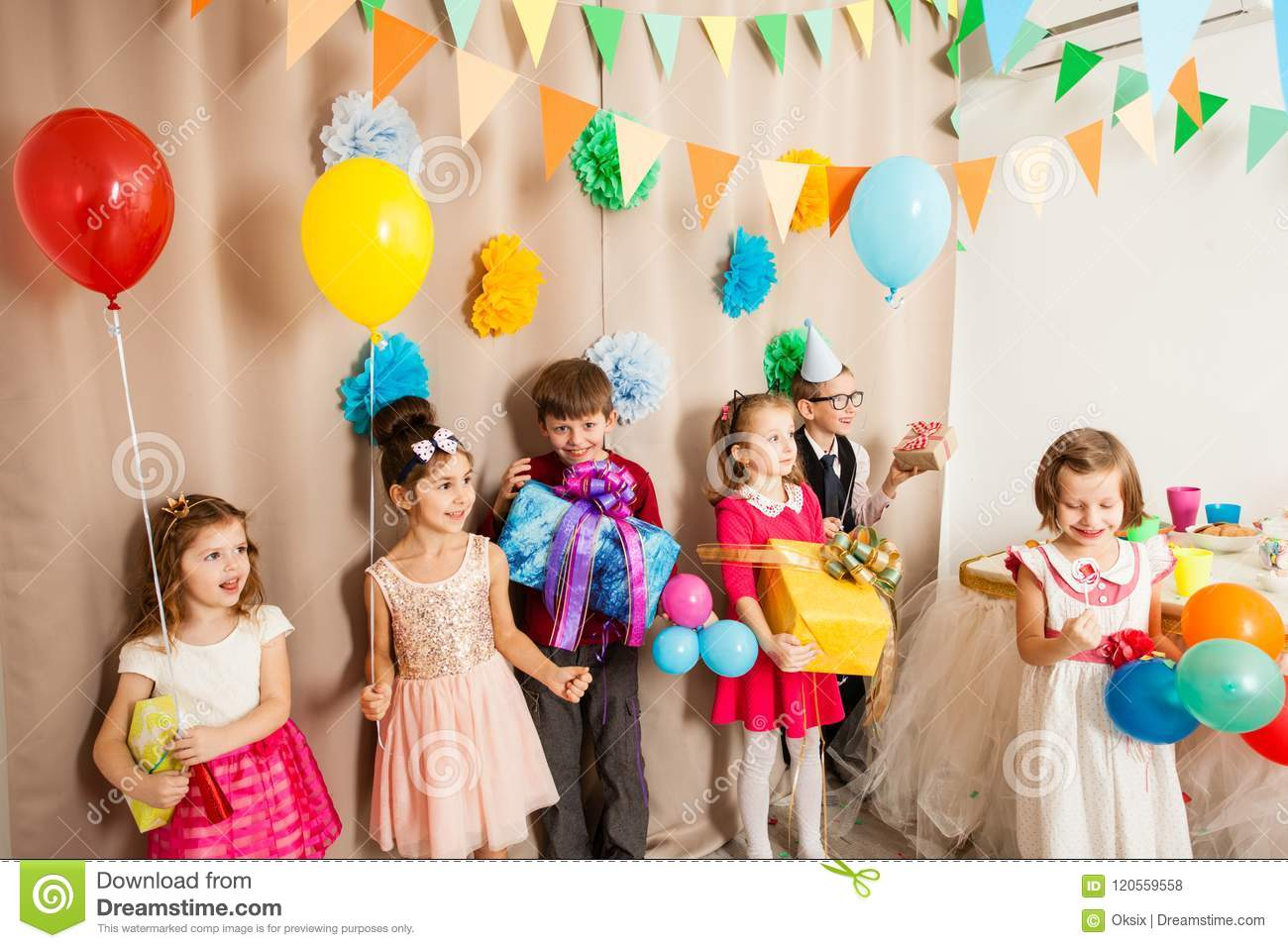 Happy Kids Came To Celebrate Their Friend Birthday Party