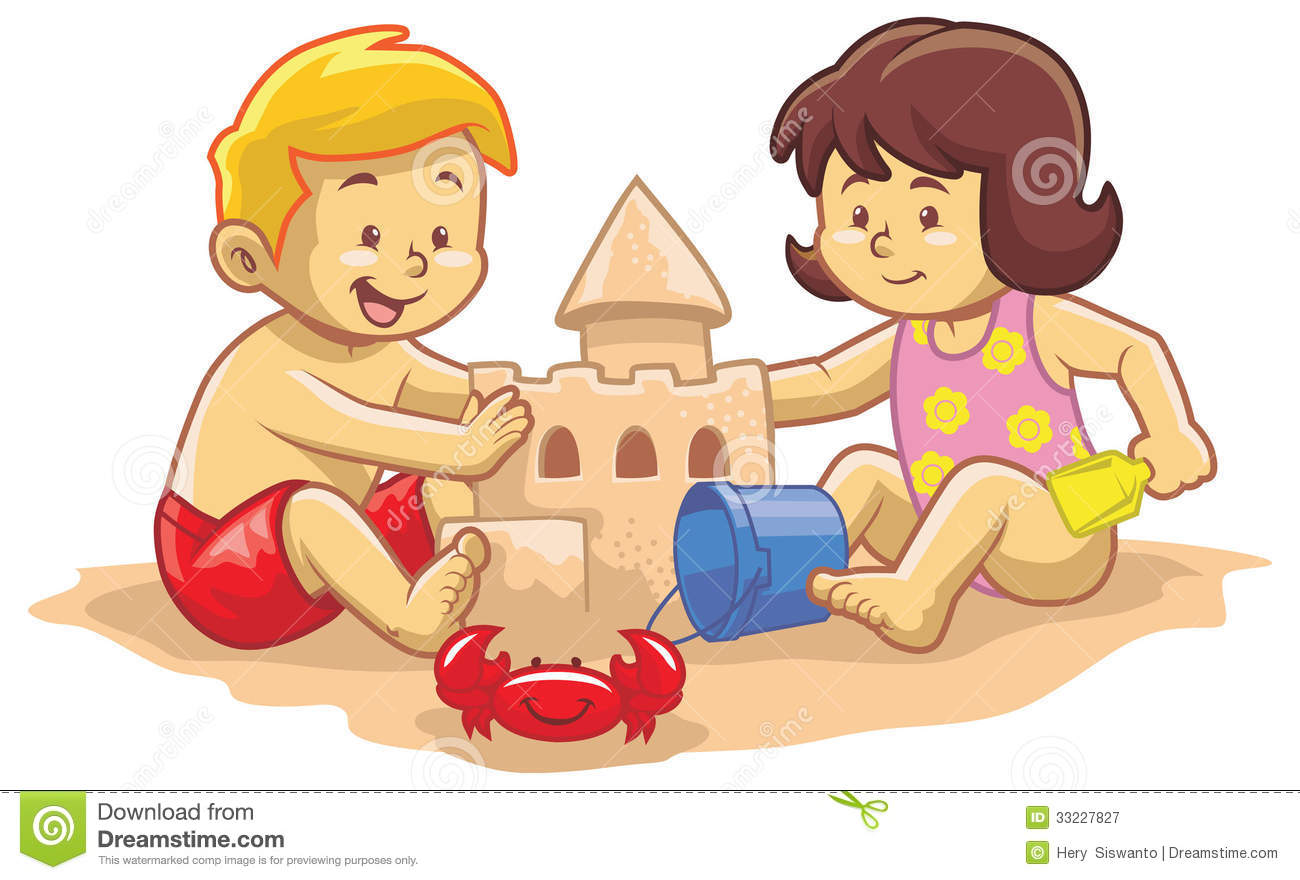 Kids build sand castle stock vector. Illustration of white ...