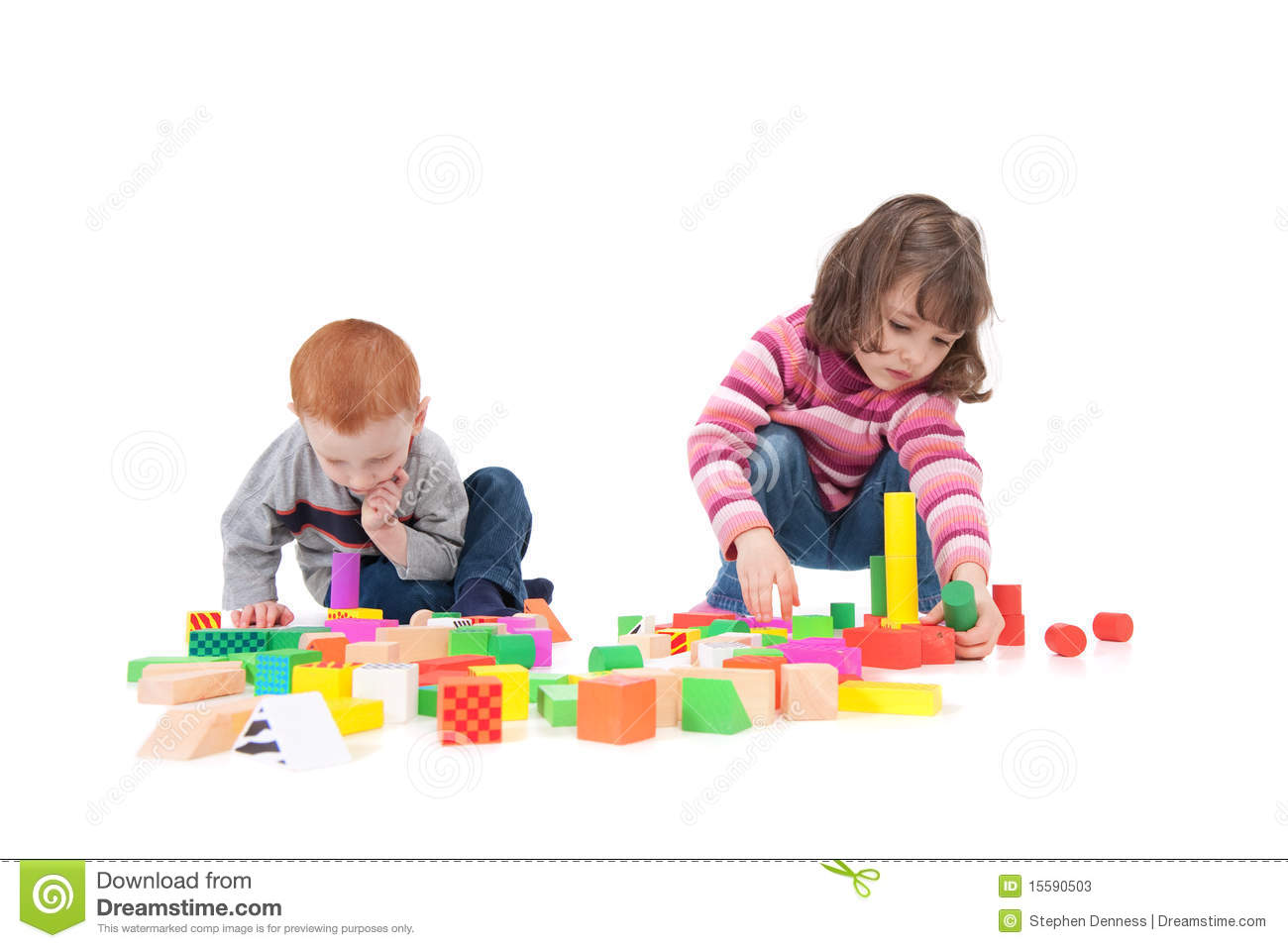 Two kids building block towers isolated on white with shadows